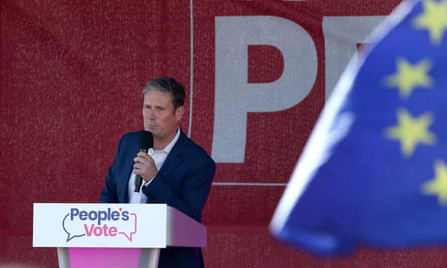 Keir Starmer speaks at a People's Vote rally during the Labour party conference in September last year.