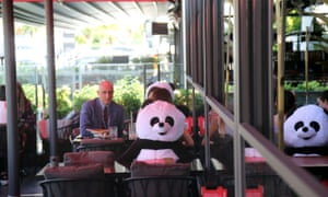 Ankara, Turkey Toy pandas are used to help customers practice social distancing while dining in a restaurant in Ankara