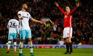 Zlatan Ibrahimovic, shown celebrating scoring Manchester United's fourth goal against West Ham, was instrumental in his side reaching the semi-finals.
