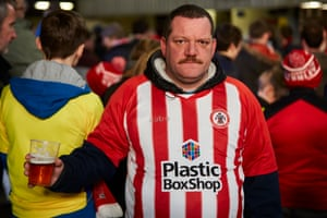 Tom Stevenson among the Accrington Stanley fans watching Liverpool play Wolves.