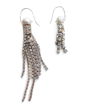 Pond is the jewellery brand that sources vintage treasures and recrafts them into playful and meaningful pieces. These mismatched jellyfish earrings, £235, are re-imagined diamanté with freshwater pearls and handmade recycled silver ear hooks. pondlondon.com