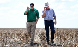 Scott Morrison with farmer David Gooding on his drought-affected property near Dalby in Queensland on Friday.