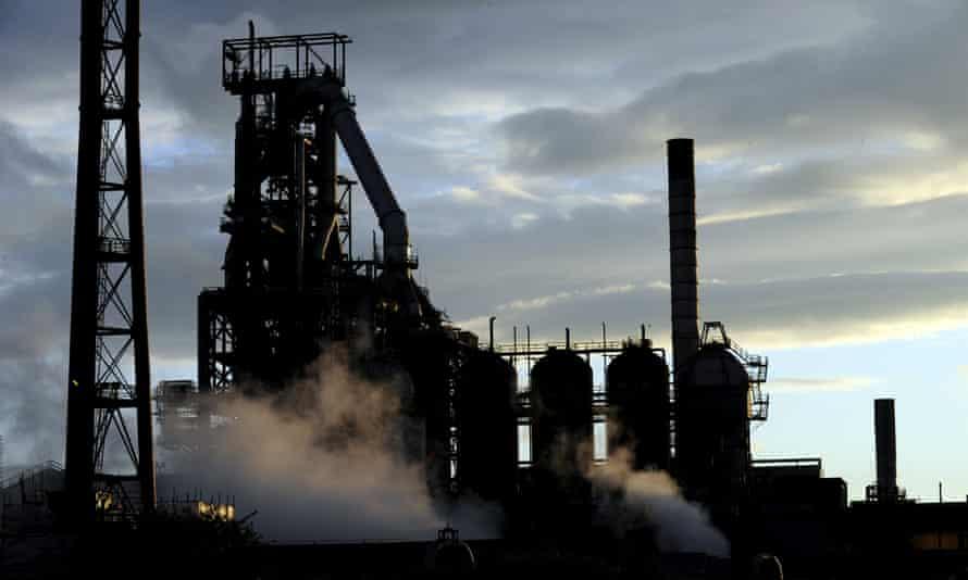 A blast furnace at the Tata Steel plant in Port Talbot.