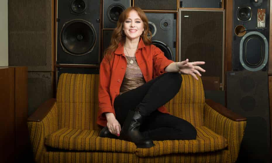Hannah Peel photographed at the specialist hi-fi shop Audio Gold, north London