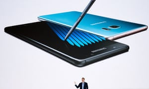 Justin Denison, senior vice president of product strategy at Samsung, speaks at a launch event for the Samsung Galaxy Note 7 on 2 August.