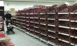 Supermarket shelves in Bristol stand empty after fuel shortages sparked panic buying in 2000.