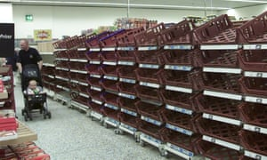Empty supermarket shelves in Bristol, during the fuel shortages of 2000.