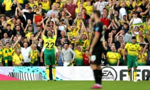 Norwich City v Manchester City - Premier League<br>NORWICH, ENGLAND - SEPTEMBER 14: Teemu Pukki of Norwich City celebrates after scoring his team's third goal during the Premier League match between Norwich City and Manchester City at Carrow Road on September 14, 2019 in Norwich, United Kingdom. (Photo by Paul Harding/Getty Images)