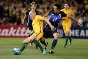 Japan defended superbly in the first half of their World Cup qualifier against Australia in Melbourne.