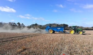Crushed basalt is applied to an arable field in Norfolk as part of the research programme of the Leverhulme Centre for Climate Change Mitigation.