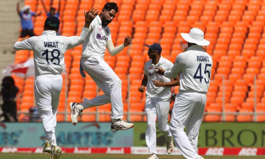 Mohammed Siraj takes the wicket of Jonny Bairstow during day one of the fourth Test.