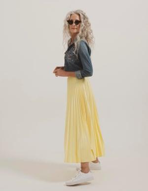 model wears skirt, £25, warehouse.co.uk. Shirt, £365, motherdenim.com. Trainers, £69.99, by Adidas, from office.co.uk. Sunglasses, £255, en.projektprodukt.co.kr.