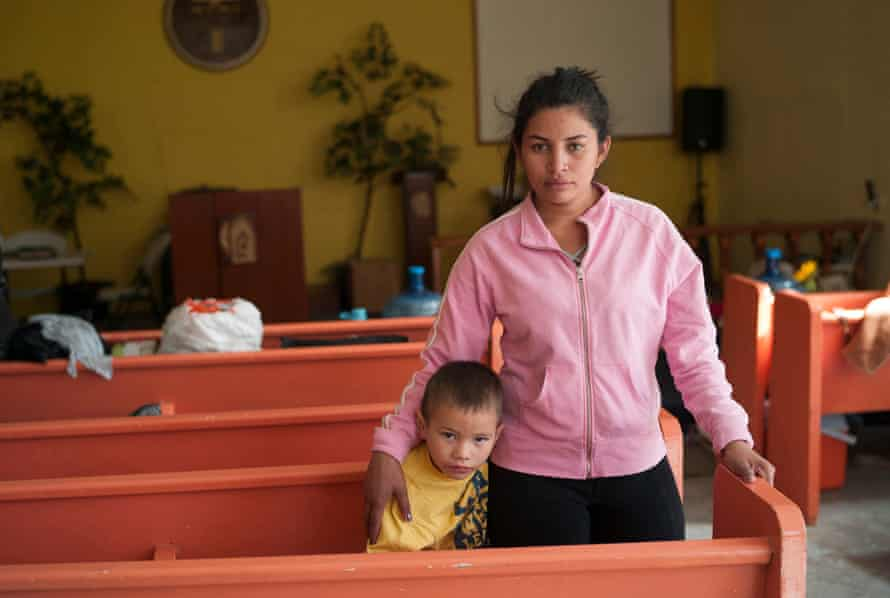 Marisela del Carmen Espinoza, 26, with her seven-year-old son Diego Ricardo at the Methodist temple and migrant shelter El Buen Pastor, where they live