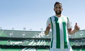 Ryad Boudebouz during his Real Betis unveiling in August.
