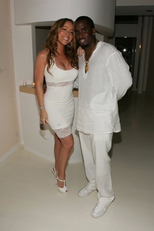 Mariah Carey in body-con with Sean Combs at one of his famous White Parties in New York, 2007.