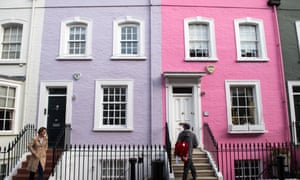 a bright pink and a purple house next door in Chelsea, west London
