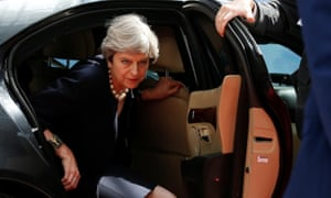 Theresa May arriving at the a EU leaders' summit in Brussels.