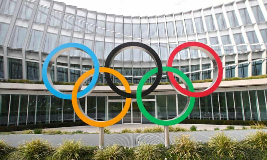 Olympic rings at the IOC building in Lausanne.