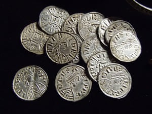 Coins from the Watlington hoard, a collection containing jewellery, ingots and coins of Alfred and Ceolwulf II.