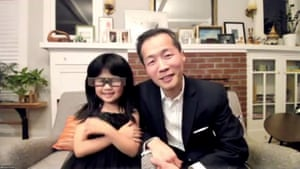 Lee Isaac Chung, winner of best foreign language movie for Minari, with his daughter