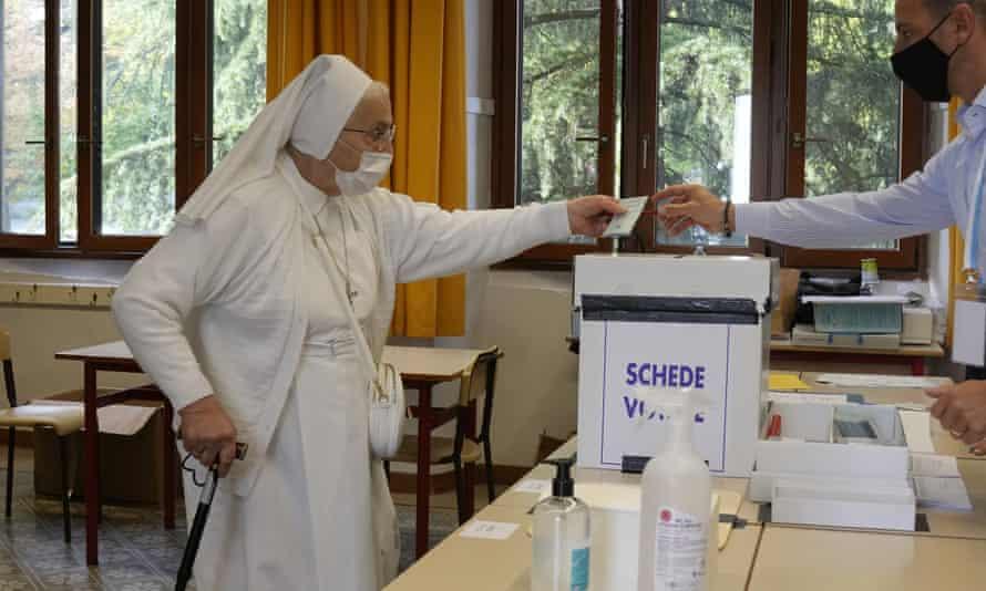 A nun votes