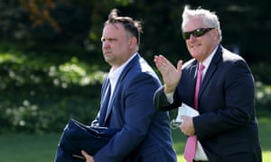 Mark Meadows, right, with assistant to the president Dan Scavino.