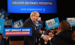 The prime minister, Boris Johnson, after speaking at the launch of the Conservative party's campaign at NEC, in Birmingham.