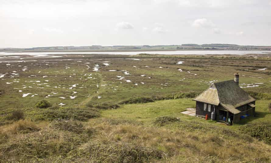 Looking over the warden's cottage at Scolt Head Island nature reserve, Norfolk, UK