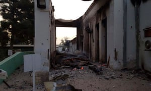 The damaged hospital is seen the morning after the attack.