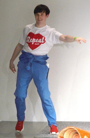Fashion designer Richard Malone wearing a Repeal T-shirt at his London fashion week show.