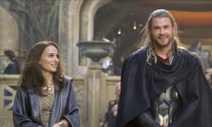 With Chris Hemsworth in Thor: The Dark World.