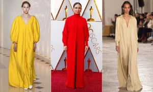 Maya Rudolph in a Valentino kaftan at the Oscars (centre). Kaftans by Emilia Wickstead (left) and Simon Porte Jacquemus (right).