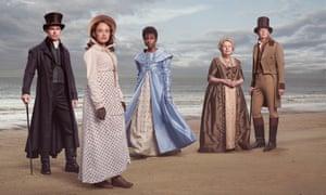 Sanditon's stars Theo James, Rose Williams, Crystal Clarke, Anne Reid and Kris Marshall