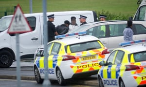 Police make arrests at the scene in Curzon Ashton football stadium complex where twelve people have been injured.