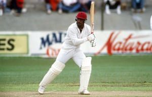 Greenidge bats at Port of Spain, Trinidad, during England's 1990 Test tour of the West Indies.