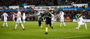 Arsenal's Alexis Sanchez celebrates scoring their fourth goal.