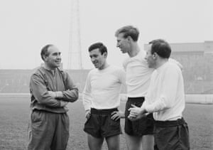 Alf Ramsey drafted him into the England team in April 1965 along with Barry Bridges of Chelsea (left) and Nobby Stiles of Manchester United (right) for a match against Scotland at Wembley.