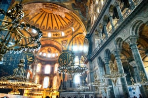 'A Christian masterpiece preserved at the heart of an Islamic city' ... the interior of Hagia Sophia, Istanbul, Turkey.