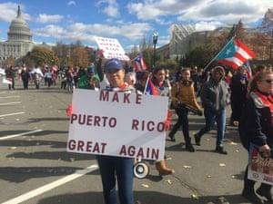 A protest for Puerto Rico in Washington, DC, following Hurricane Maria.