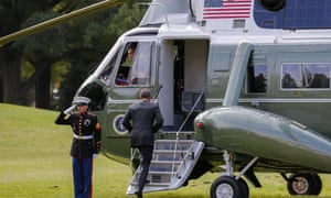 Barack Obama boards Marine One as he travels to New York City to attend the United Nations General Assembly and other events.