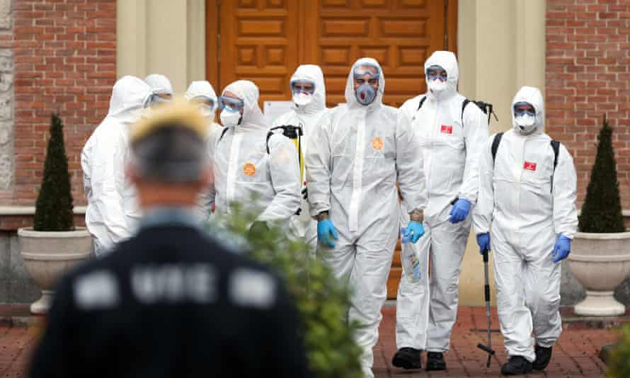 Members of the Military Emergency Unit leave an elderly home after carrying out disinfection procedures during the coronavirus disease in Madrid, Spain.