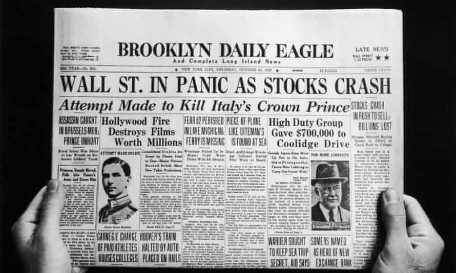 a newspaper heralds the wall Street crash
