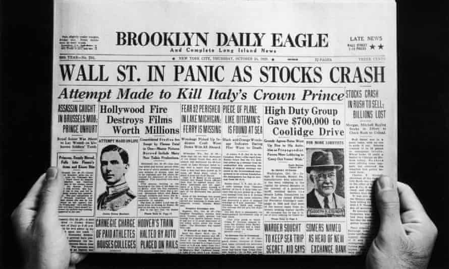 The front page of the Brooklyn Daily Eagle newspaper on 24 October 1929.