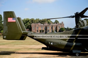 A US marine support aircraft sits outside Chequers