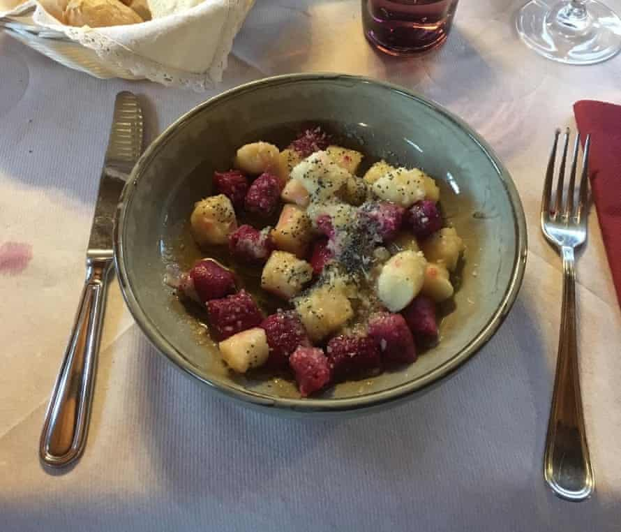 Beetroot gnocchi brushed with poppy-seed butter at Rifugio Pomedes