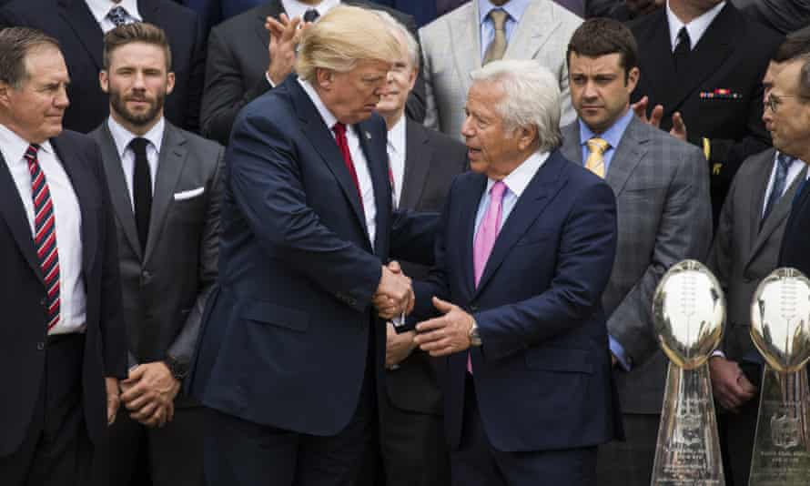 Robert Kraft with Donald Trump and the New England Patriots at the White House in 2017.