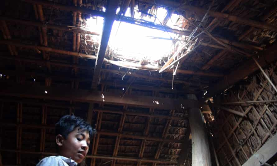A damaged house in a village in Rathedaung township, Rakhine state, following fighting between the Myanmar military and the ethnic Arakan Army