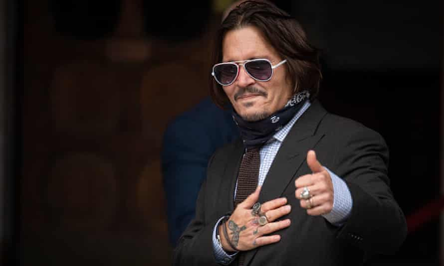 Johnny Depp arriving at the high court on Monday