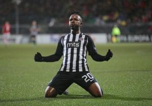 Partizan Belgrade's Seydouba Soumah celebrates scoring their second goal.