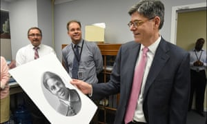 The then treasury secretary, Jacob Lew, looks at a rendering of Harriet Tubman during a visit to the Bureau of Engraving and Printing in Washington DC on April 21, 2016.